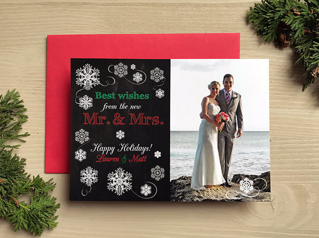 Best Wishes From The New Mr. & Mrs. Photo Holiday Christmas Card • Save Date Wedding Dates