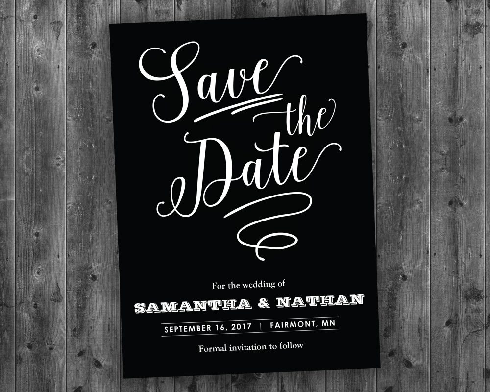 Black & White Save The Date Printed - White, Chalk, Board, Chalkboard
