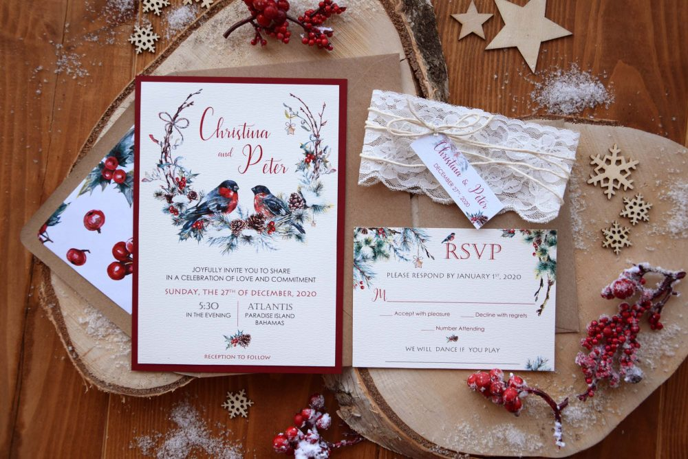 Christmas Invitations, Custom Winter Wedding Unique Beautiful Rustic Lace Invitations