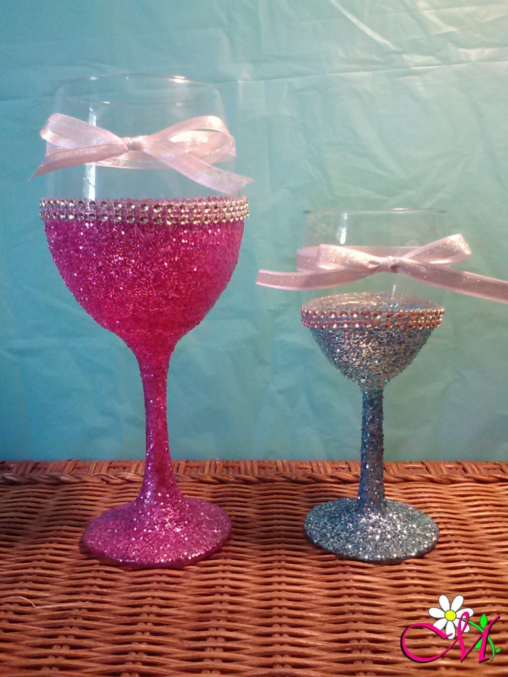 Glitter Wine Glasses, Bridal Shower Favors, Wedding Bridesmaid Gift,   8.5Oz, 12Oz, Or 20Oz   Glass   Your Choice Of Color