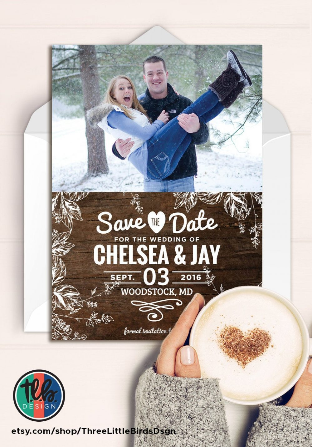 Rustic Save The Date Photo Card Wedding Wood Shabby Chic
