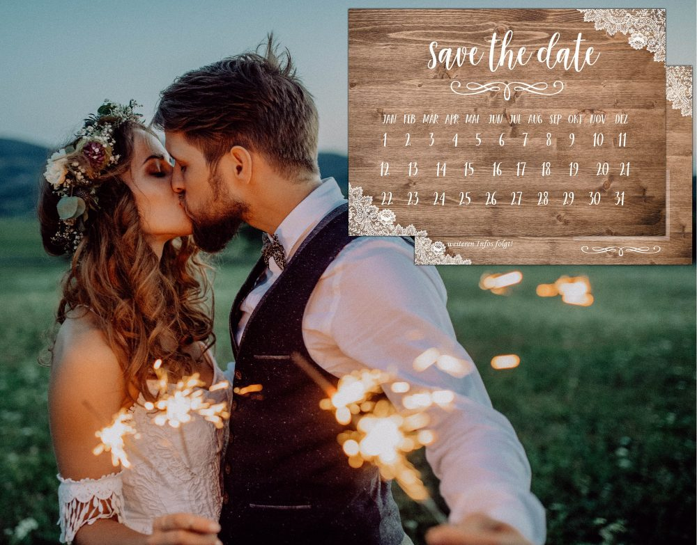 50 Save The Date Cards Rustic Wooden Lace Wedding Invitation Countdown Calender