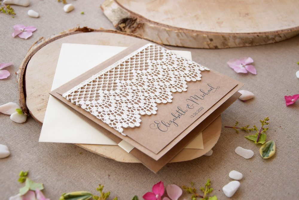 Rustic Wedding Invitations, Lace Marriage Pocket Invitation Kits, Country Invitations