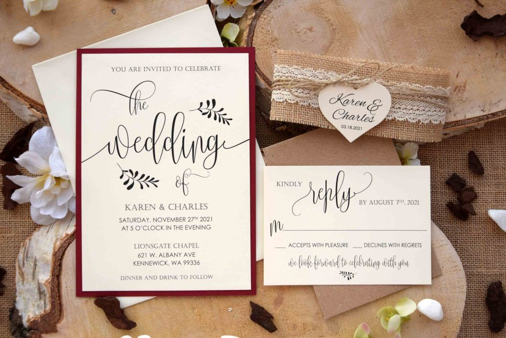Fall Wedding Invitation, Burgundy Invitation Rustic, Autumn Kit, Personalized Rustic Lace Invites