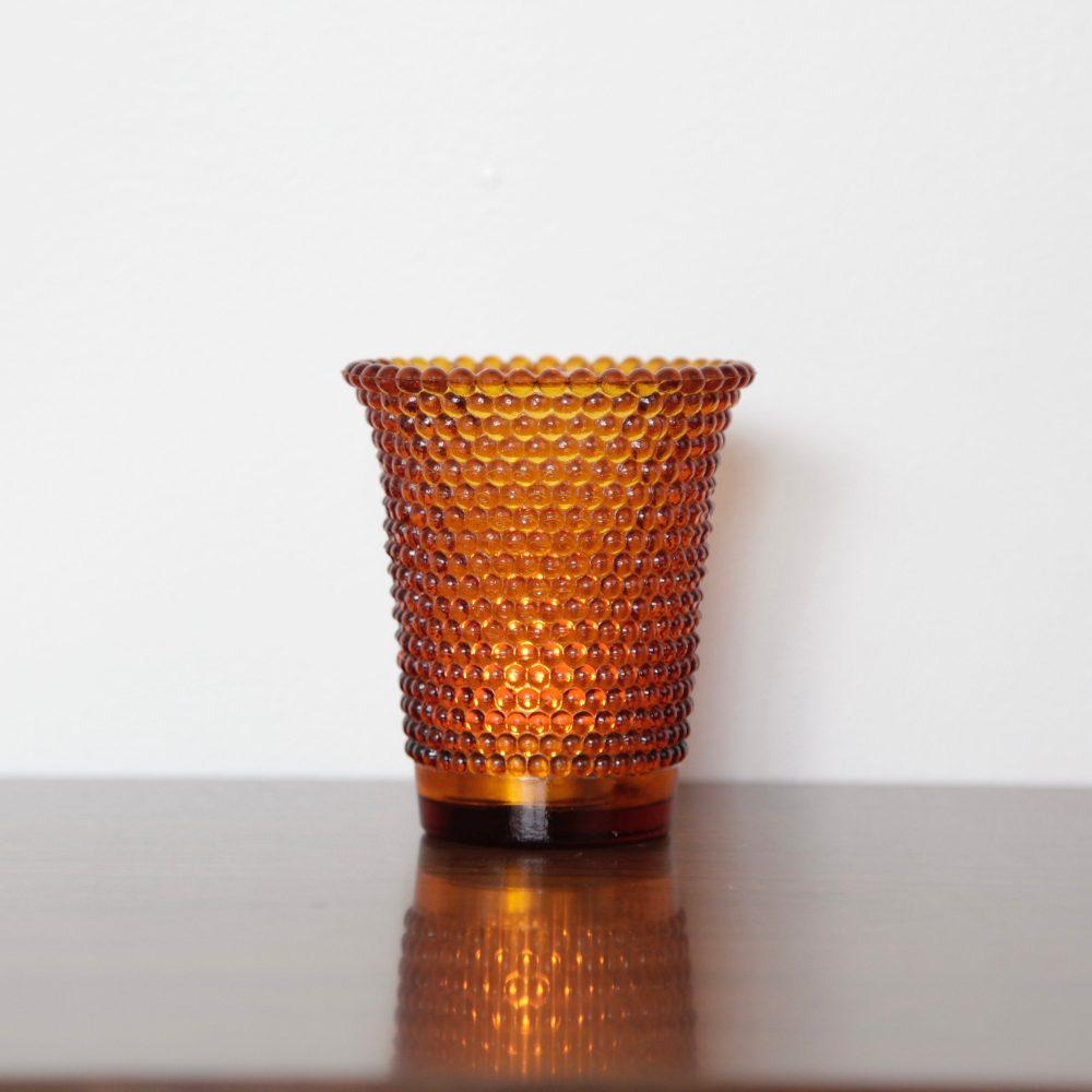 Vintage Textured Amber Glass Tea Light Candle Holder, Home Decor, Bohemian Home, Boho Style, Wedding Event Decor