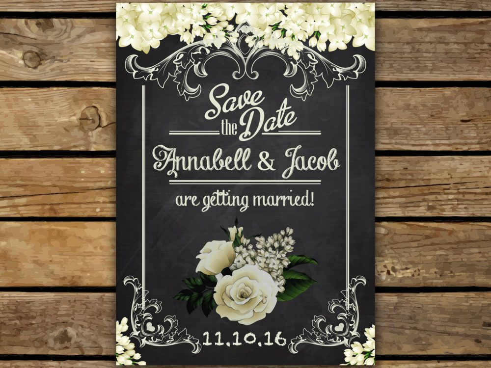 Save The Date, Chalkboard The Wedding, Date Postcard, Design