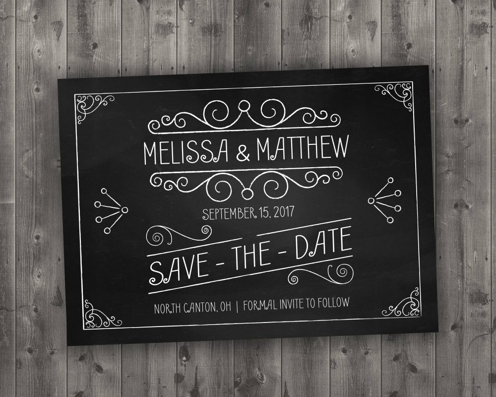 Chalkboard Save The Date Printed - Black & White, Chalk, Board, Chalkboard