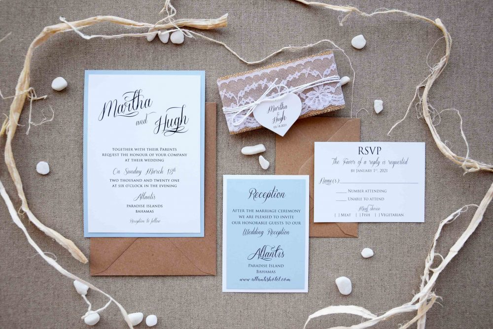 Blue Rustic Chic Wedding Invitation Kit, Invitation, Custom Invitations, Rustic Lace Invites, Country Invite