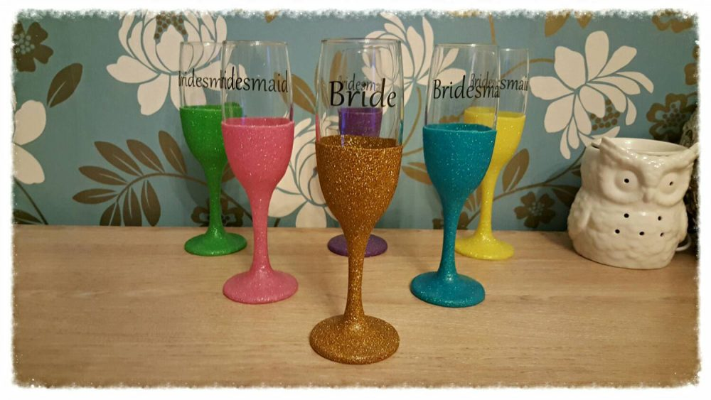 Wedding Glitter Glasses Personalised Text & Colour Ideal For First Toast, Champagne Flutes