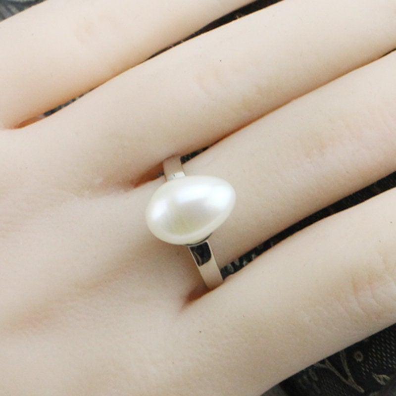 Pearl Ring, Pearl Promise Ring, 10mm Teardrop Pearl Engagement Ring Women, Freshwater Rings, Sterling Silver Open Ring, Friend Sister Rings