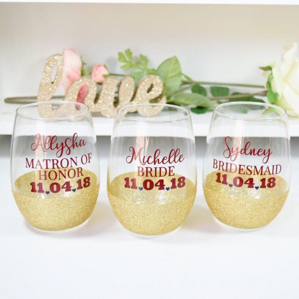 Bridesmaid Glitter Wine Glass - Bridal Party Glasses Bachelorette Bride Maid Of Honor