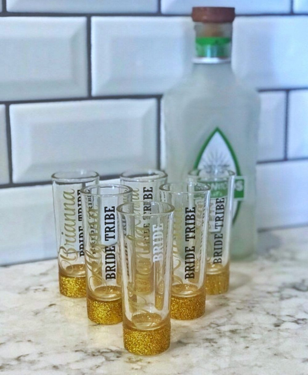 Bridesmaid Shot Glasses - Personalized Bridal Party Wedding Glitter