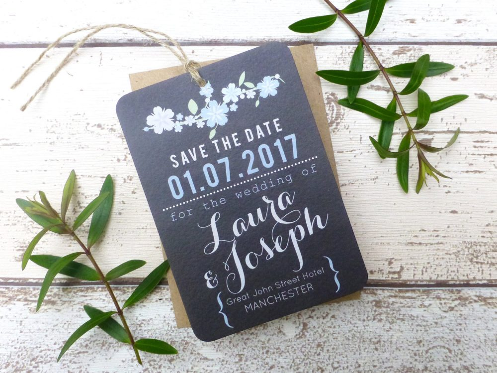 Vintage Chalkboard Floral Save The Date, Date Tag