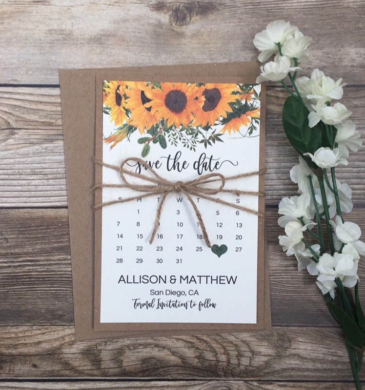 10 Calendar Save The Date Cards, Sunflower Card, Rustic Boho Floral Cards