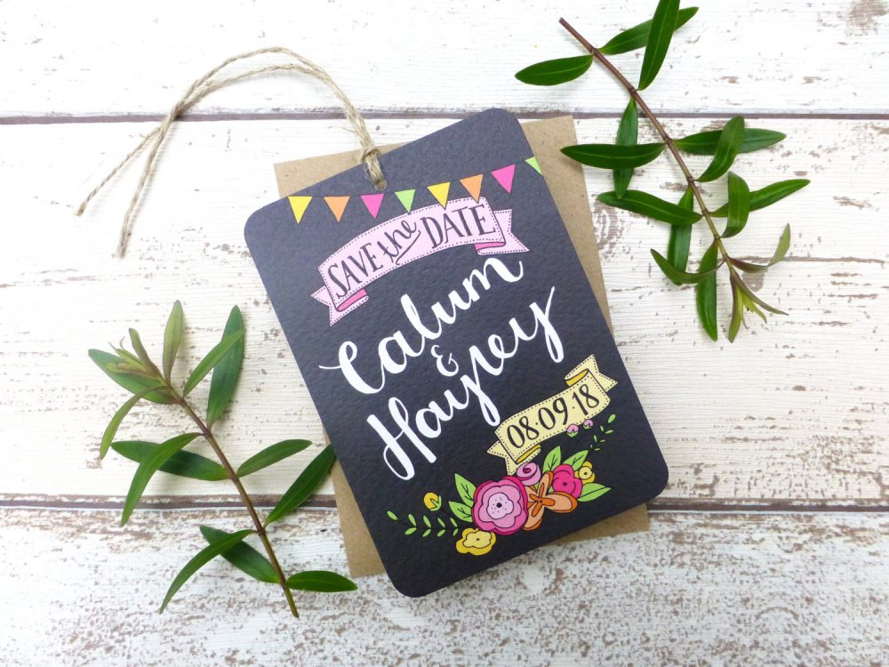Bright Floral Chalkboard Save The Date Tag, Hand Lettered Wedding Stationery