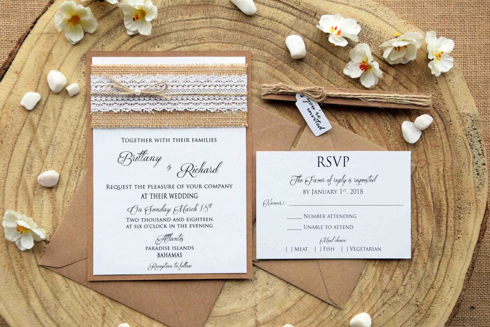 Burlap Wedding Invites, Lace Invitation, Rustic Country Invitation