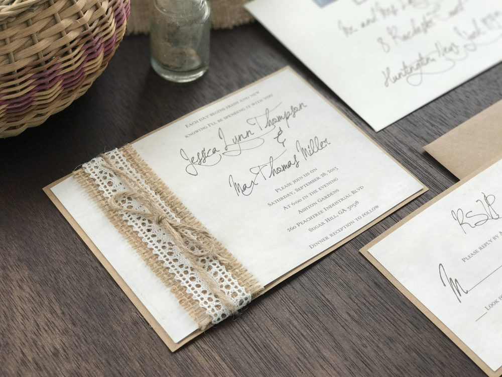 Calligraphy Wedding Invitation, Shabby Burlap Rustic Lace Invitation