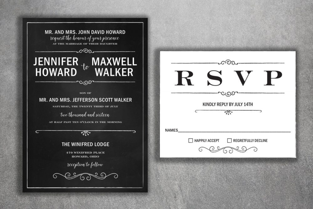 Chalkboard Wedding Invitation, Blackboard Rustic, Black & White Invitations, Vintage, Bw