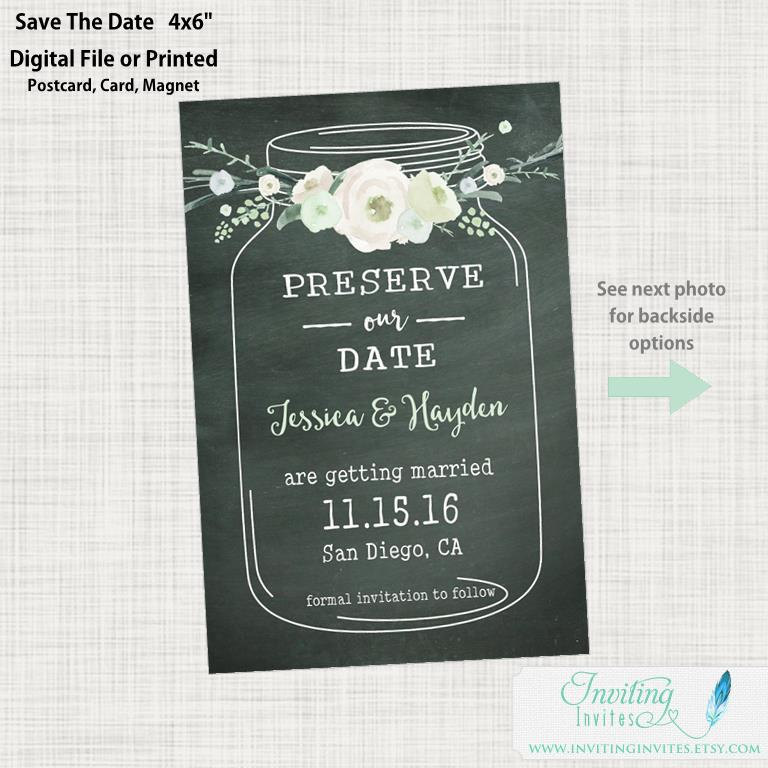 Save The Date Postcard - Photo Date, Mason Jar Rustic Chalkboard, Country