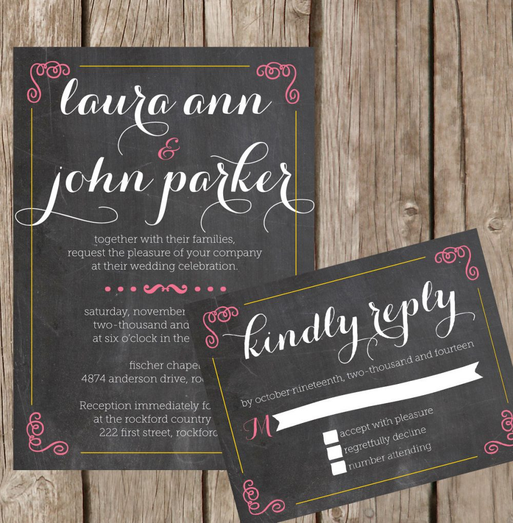 Wedding Invitation Set, Chalkboard Style Invitations, Script Invitation, Pinks & Chalk Invitations