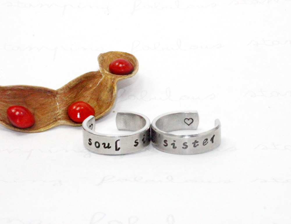 Soul Sister Ring Set, Stamped Aluminum Matching Pair Rings, Sisters, Best Friends, Bff Gift