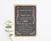 Wedding Invitation, Berry Floral Chalkboard Evening Wedding Invitations