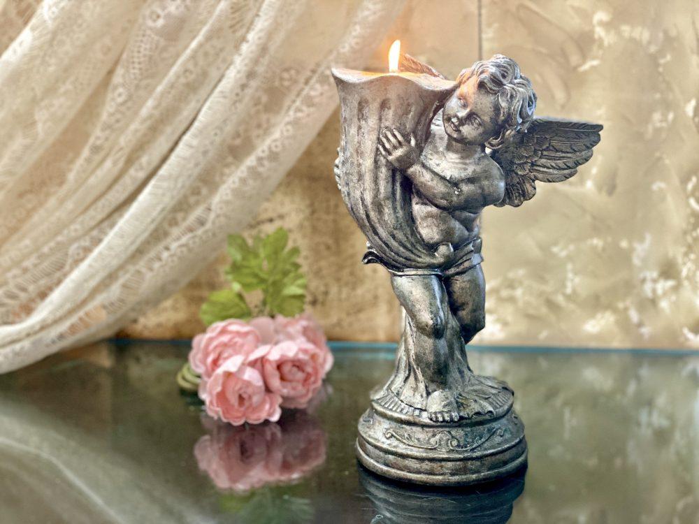 Candle Holder Cherub Pedestal Statue Neoclassical Art Victorian Rustic Silver Cupid Figurine Angel Baptism Centerpiece Church Wedding Gift