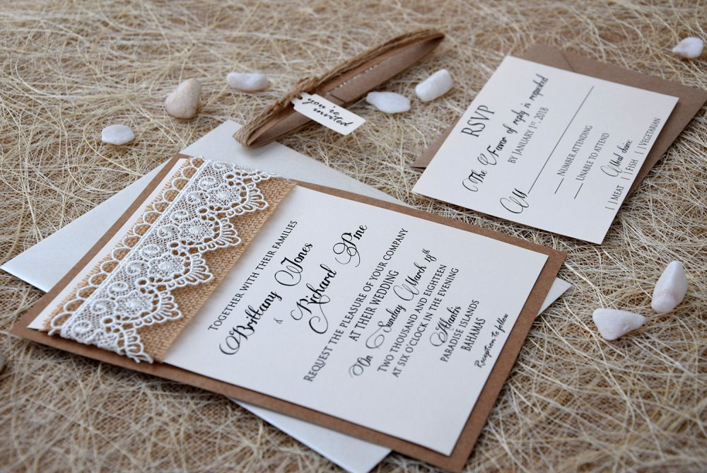 Lace Wedding Invitation, Burlap & Rustic Marriage Invitation