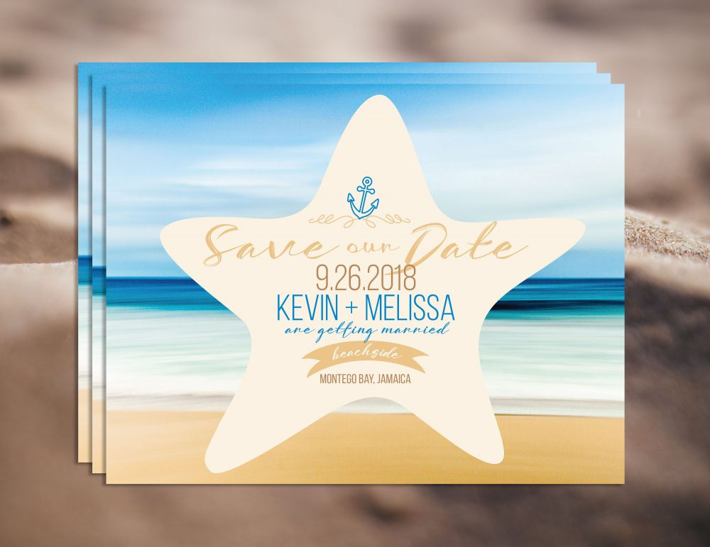 Beach Save The Date, The Date Magnet, Destination Wedding Save Date, Printable File Available, Anchor Design, Starfish, Ocean