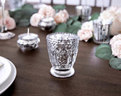 Silver Glass Tea Light Holder, Rustic Wedding Decorations, Candle Holders, Venue Decorations, Golden Wedding