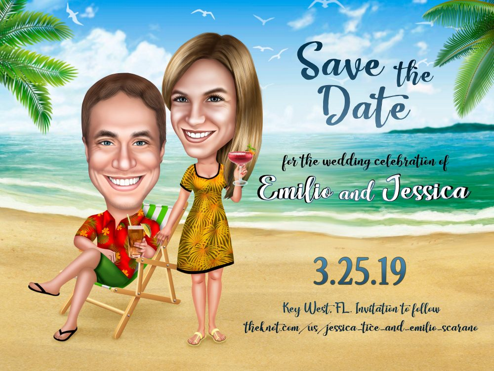 Beach Wedding Invitation Caricature Card/Tropical Save The Date Destination