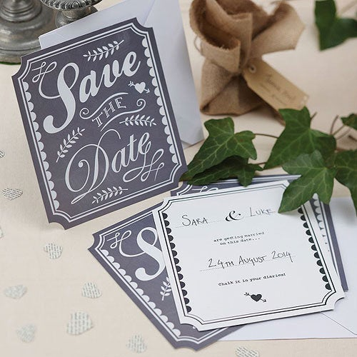 Pack Of 10 Chalkboard Style Save The Date Cards - Engagement Announcement Wedding Invitations
