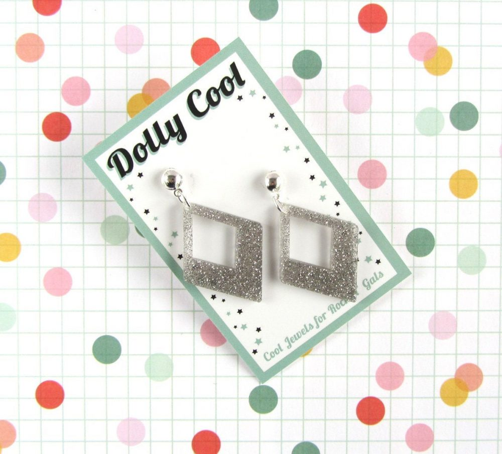 Silver Confetti Diamond Drops - Glitter Acrylic 40S 50S Repro Vintage Style Novelty Atomic Retro