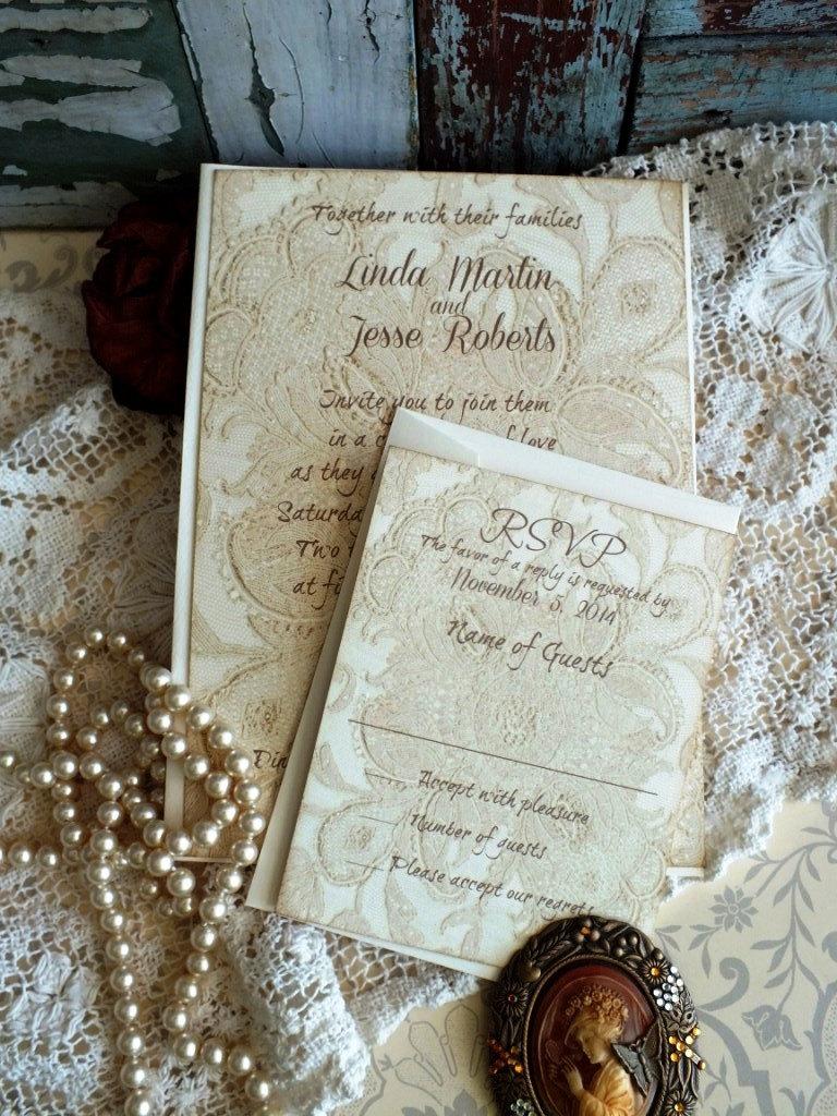 Lace Wedding Invtation - Vintage Invitations Romantic Weddings Elegant Invitation Handmade By Avintageobsession On Etsy