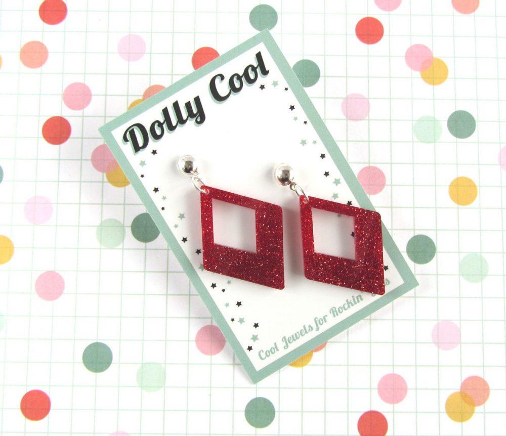 Red Confetti Diamond Drops - Glitter Acrylic 40S 50S Repro Vintage Style Novelty Atomic Retro