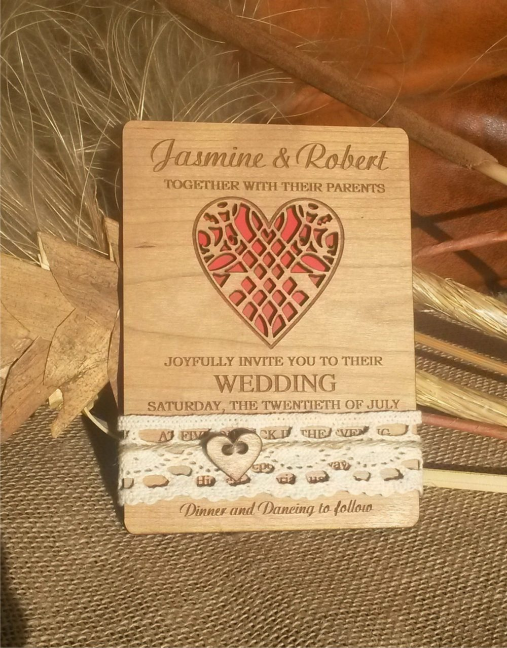 Rustic Wedding Invitation 10/ Unique Invitation/ Laser Cut Wedding Invitations/ Custom/Lace