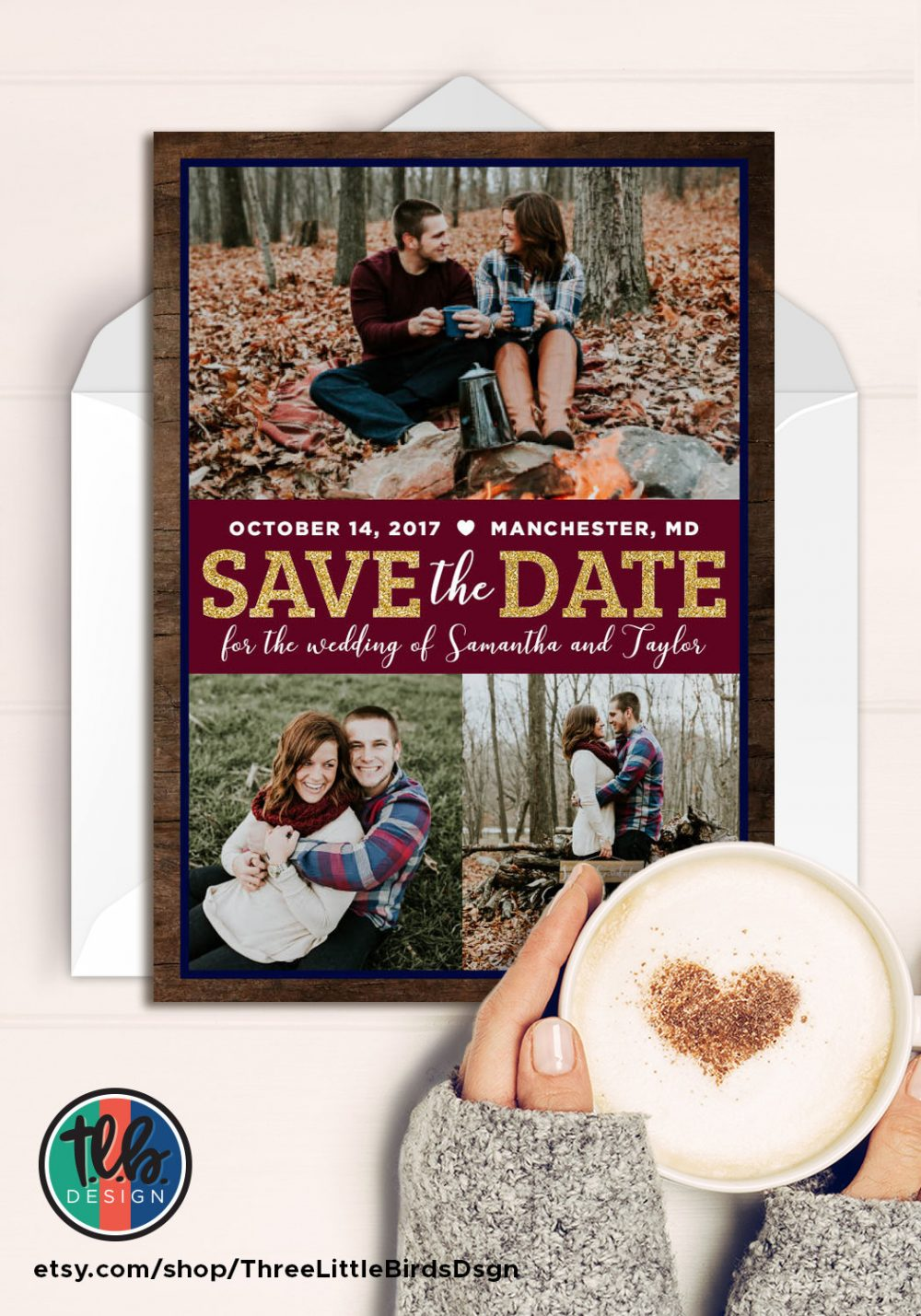 Multi Photo Rustic Save The Date Card Wedding Wood Gold Glitter Bordeaux Navy