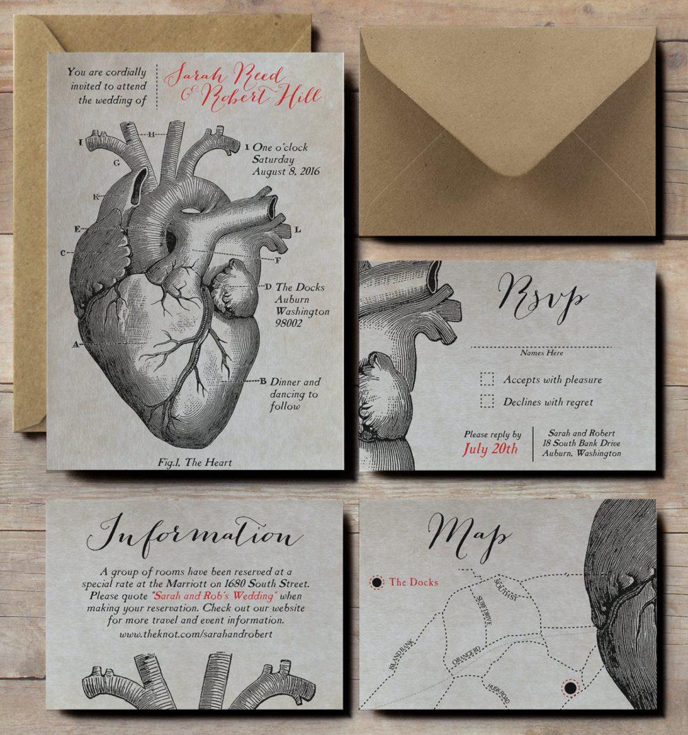 Anatomical Heart Wedding Invitations, Scientific Wedding Invites, Steampunk Invitations, Victorian Vintage Invitations
