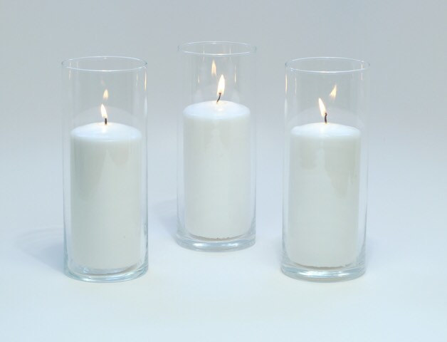 Set Of 3 Cylinder Vases, Wedding Centerpieces, Candle Holder, Baptism Decor