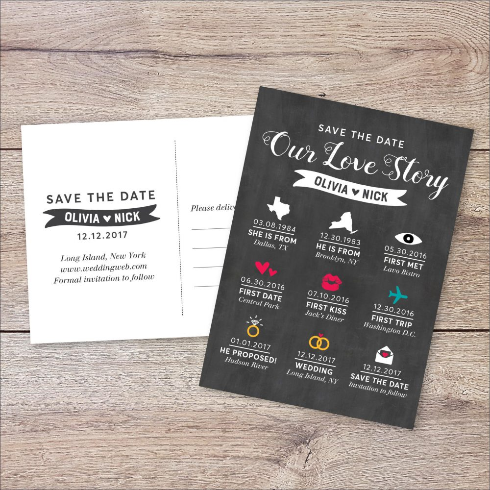 Personalized Infographic Save The Date Card Invite, Wedding Invitation, Our Love Story, Long Story Short, Postcard