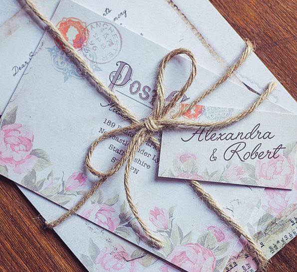 Vintage Floral Invitation   Butterfly Wedding Spring Invite Summer Set Pink Flowers