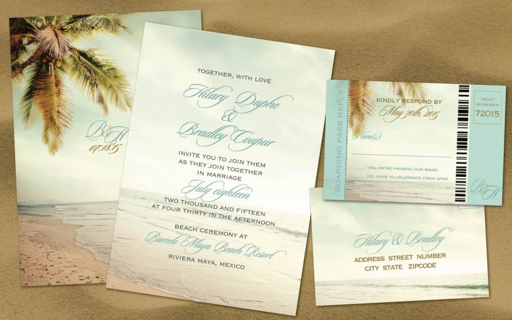 Beach Palm Trees Destination Wedding Vintage Invitation Set, Teal Aqua, Reply Boarding Pass