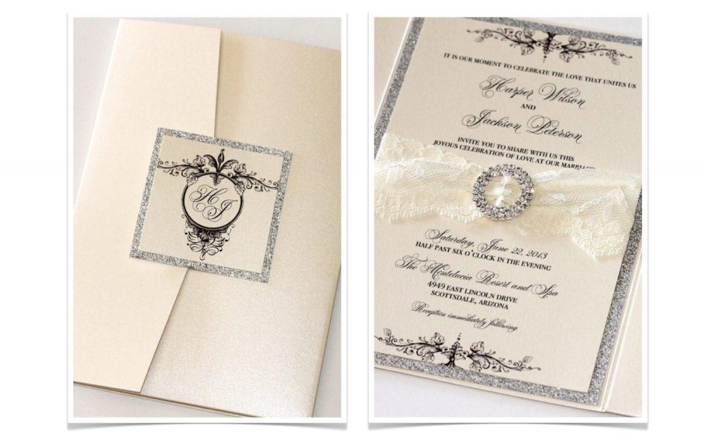 Elegant Wedding Invitation, Lace Vintage Invite, Glitter Invitation - Harper Sample