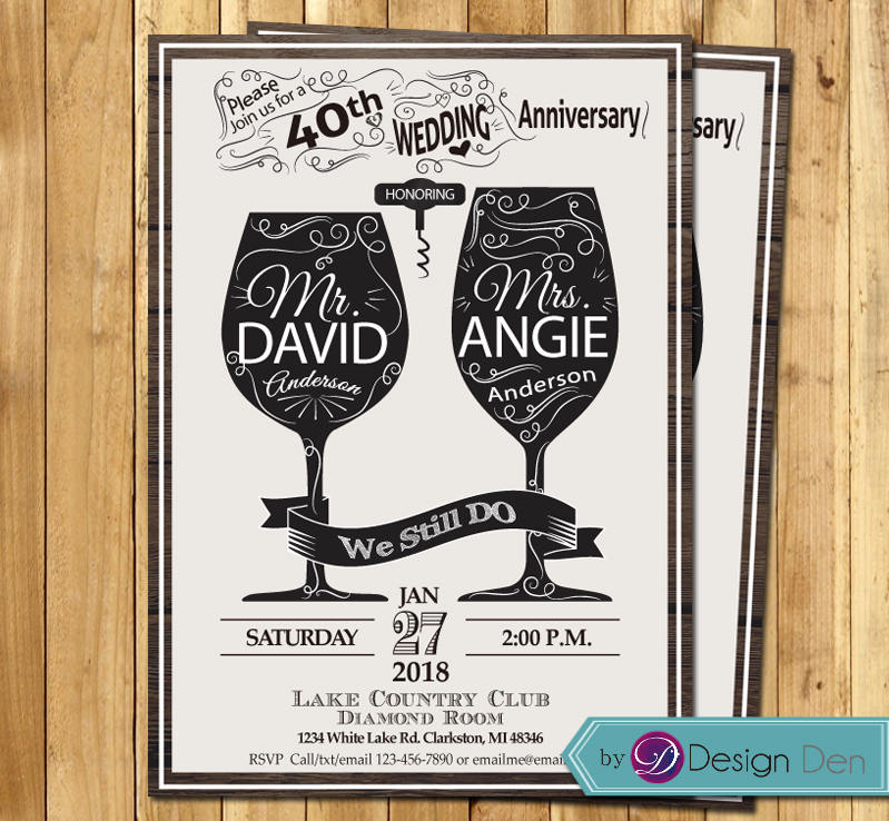 Wine Wedding Anniversary Invitation/Couple Invitation/Wine Glasses Bottle/We Still Do/Chalkboard/ #w1008