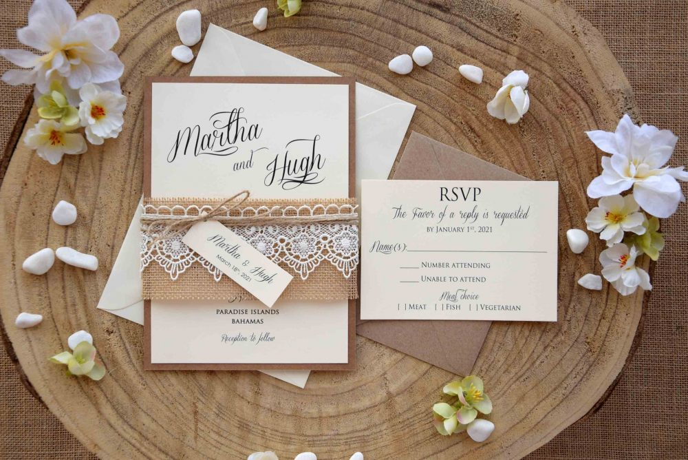 Rustic Lace Wedding Invite, Burlap & Invitation Kit, Custom Invitation, Personalized