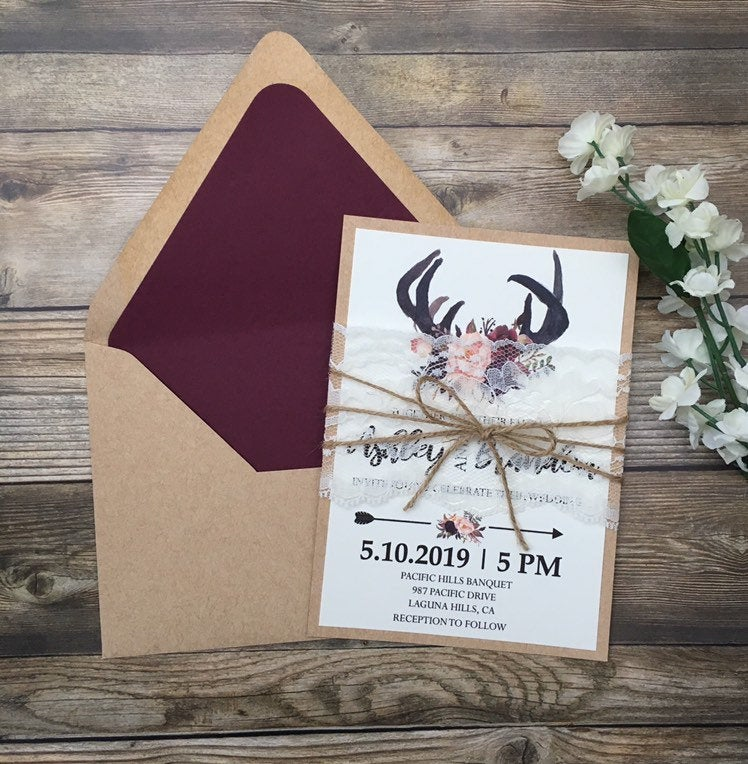 Rustic Wedding Invitation, Antler Burgundy Boho Rustic Lace Invite