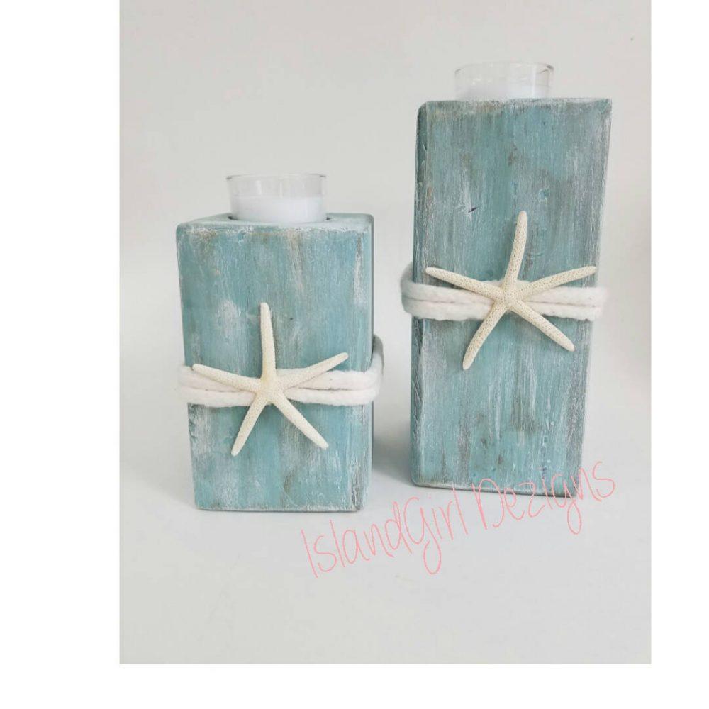 Wooden Beach Starfish Candle Holder, Coastal Decor, Distressed, Wedding, Nautical, Driftwood, Beach, Island Chic