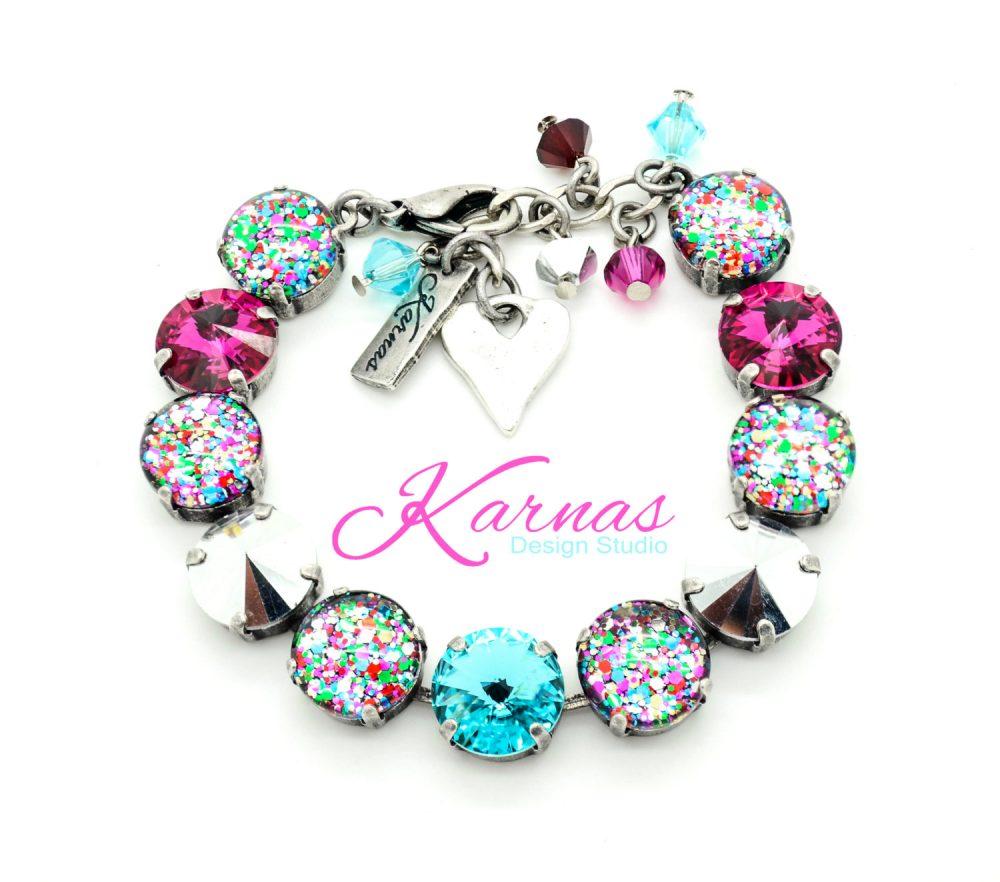 I Love Confetti 12mm Crystal & Cabochon Bracelet Made With Swarovski Pick Your Finish Karnas Design Studio Free Shipping