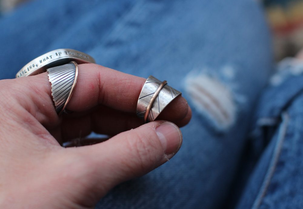 Mixed Metal Free Spirit Leaf Ring ~ Sterling & Bronze Stamped Distressed Band Personalized Customized Sister Rings