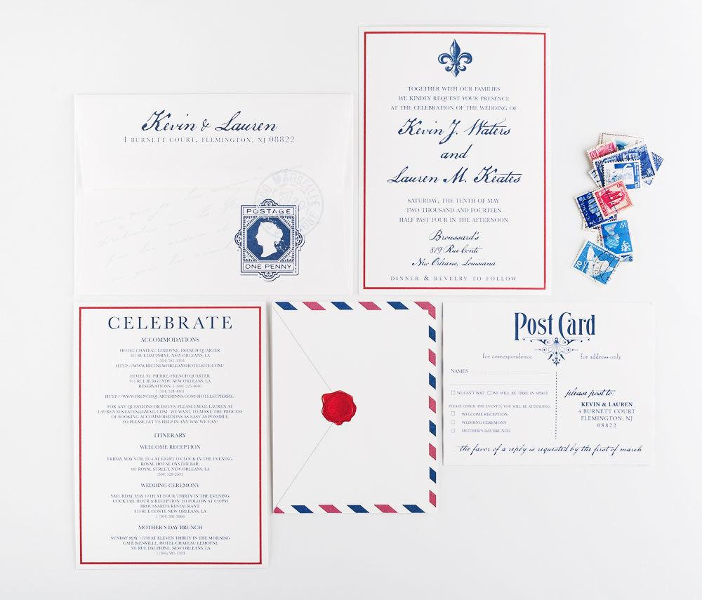 Airmail Travel Wedding Invitation - Transcontinental Theme Wedding - Destination Vintage Invitation